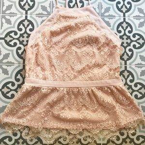 Blush lace peplum camisole top